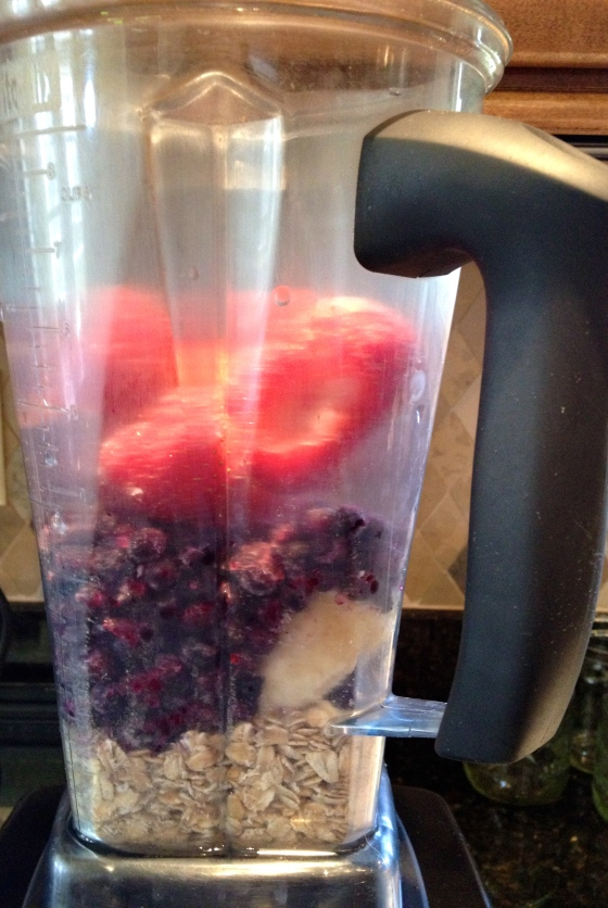 Oatmeal, Banana, Frozen Blueberries, Frozen Strawberries