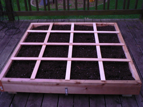 16 beautiful squares ready to be planted.