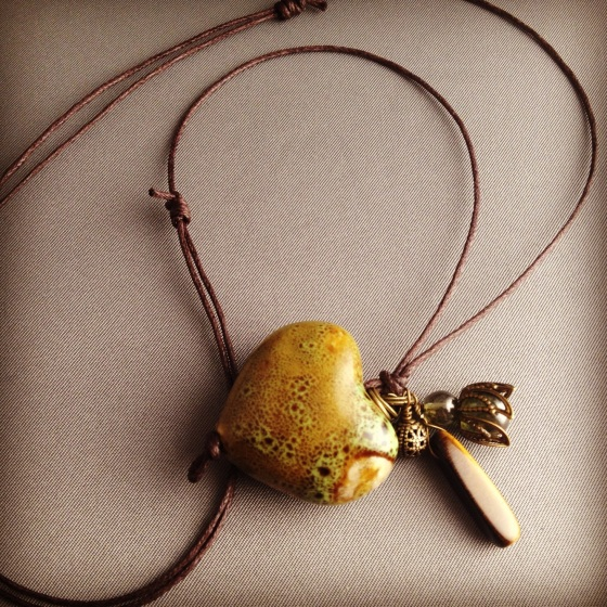 hand glazed ceramic, tiger eye, antique brass, czech glass, cotton cord